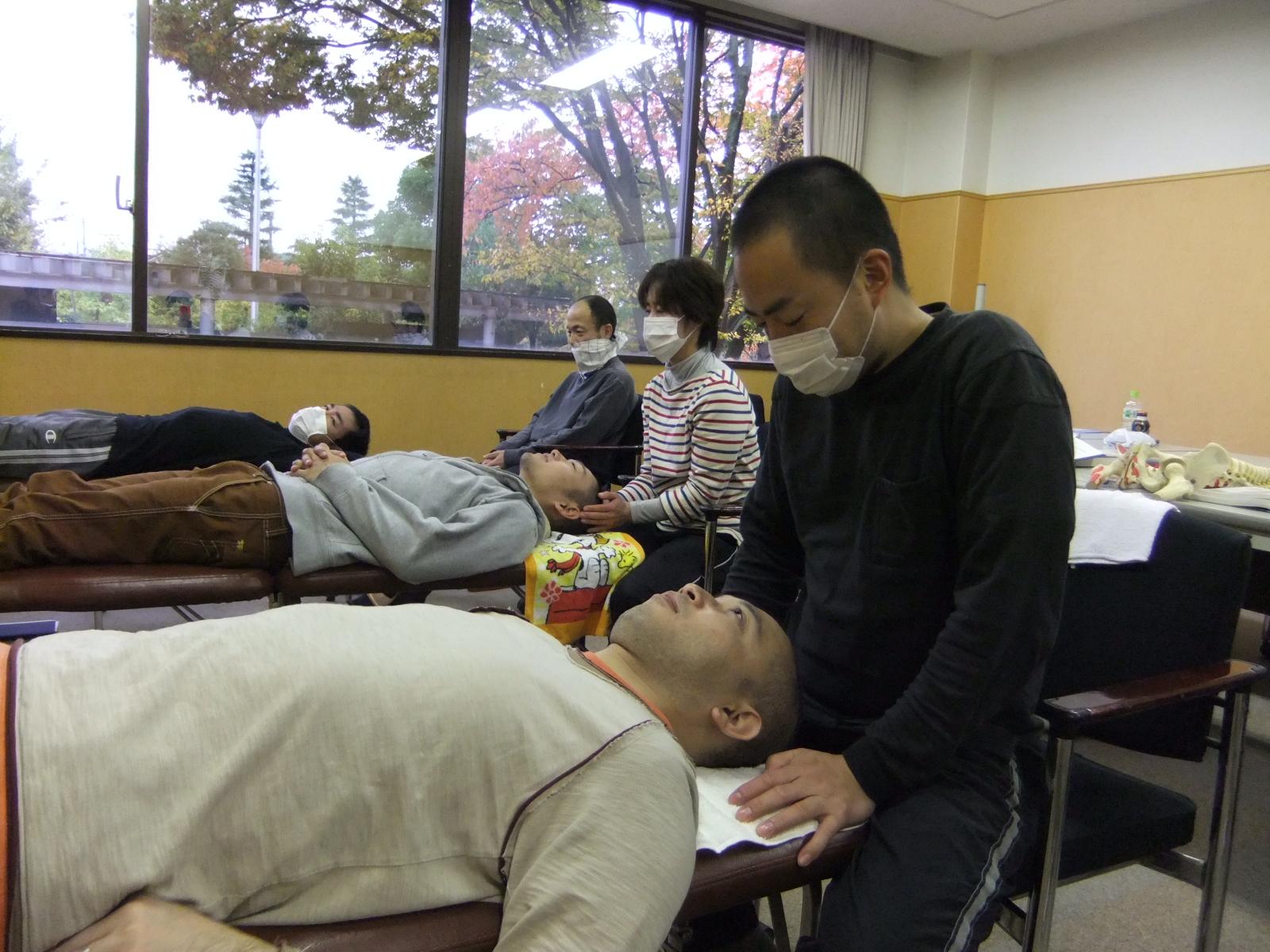 頭蓋骨学の練習風景